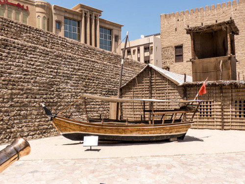 Dhow in Dubai Museum with walls built using coral & mud