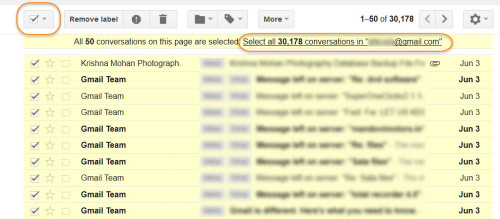 By default it chooses only 50 mails. Next click Select all conversations.