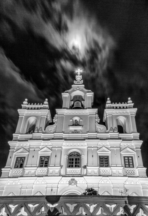 Moon Over Panjim Church in Monochrome