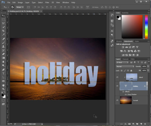 Add drop shadow or any other embellishment to the Text layer