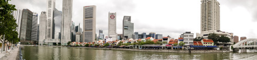 Boat quay and 5pointway.inn at Singapore riverfront panorama
