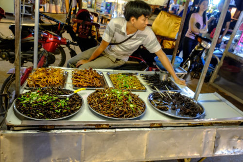 street hawker selling Insects, spiders and snakes