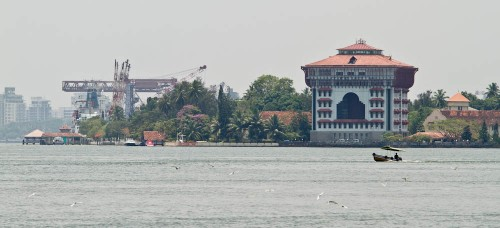 Kochi harbor with prominent Port Trust Building
