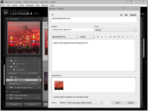 Emailing from Lightroom 4 Beta