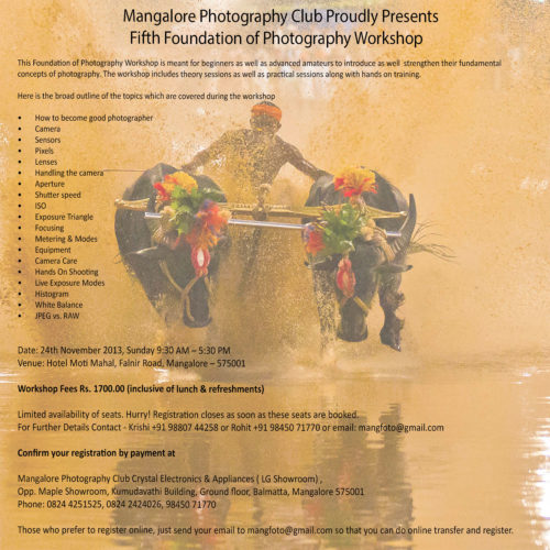 Mangalore Photography Club Proudly Presents Fifth Foundation of Photography Workshop