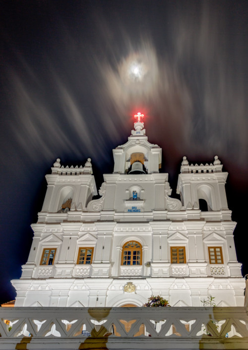 Moon Over Panjim Church in HDR