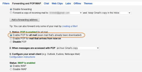 Enable POP for all mail in your old Gmail account