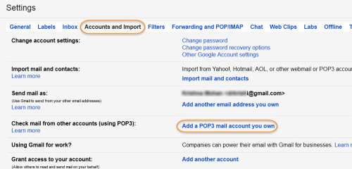 Create a new account for backing up mail. In your new account add a POP3 mail account you own to import your mail.