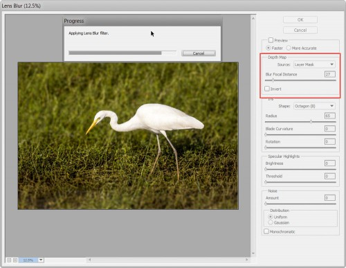 Lens Blur using Layer mask as source