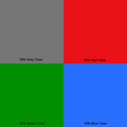 Middle tone could be 18% reflectance blue, red, green, brown