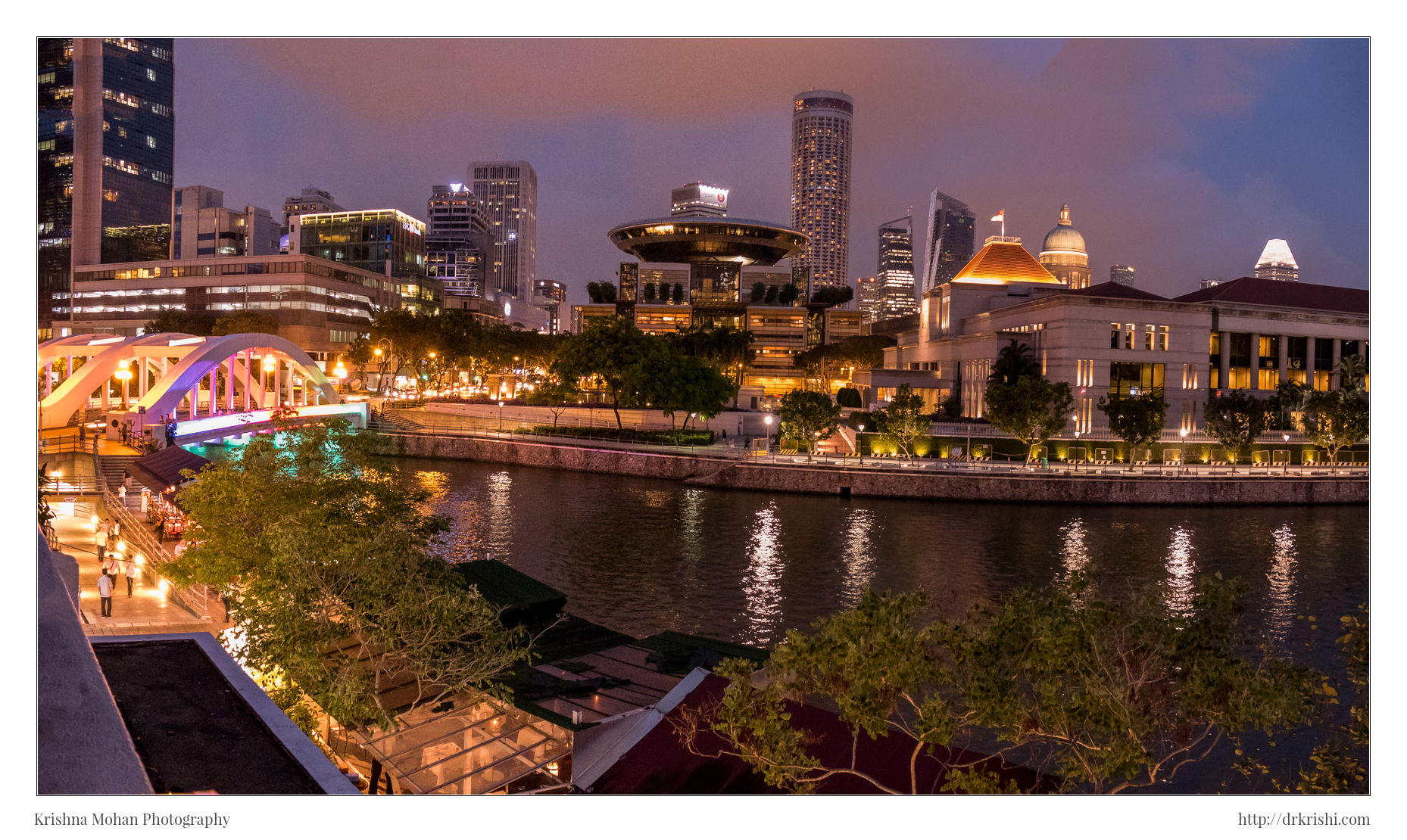 Panorama of Boat Quay near Elgin Bridge
