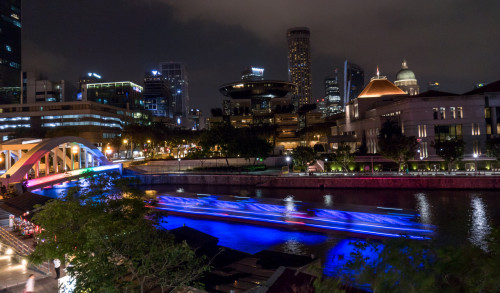 Slow Shutter Speed panorama of boat under Elgin Bridge