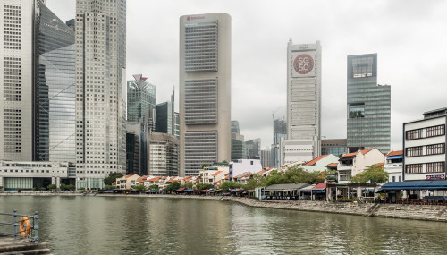 Boat quay and 5pointway.inn at Singapore riverfront