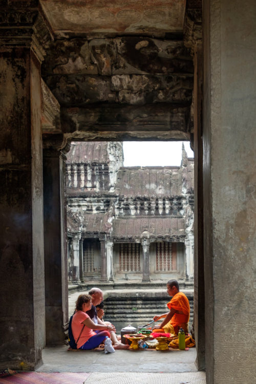 Monks conducting blessing ritual