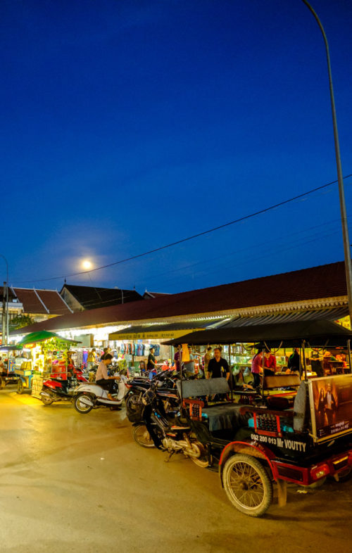 Moon rise over night market