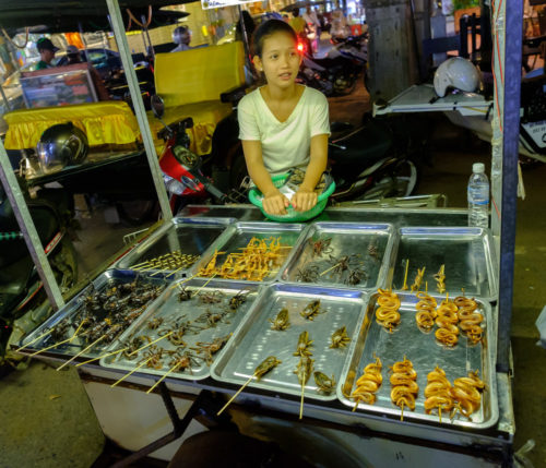 Young lady selling Insects, spiders and snakes