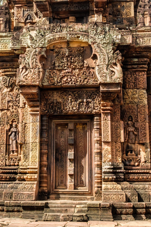 Intricate carvings and false doorway