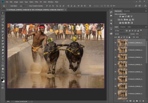 In Photoshop as layers