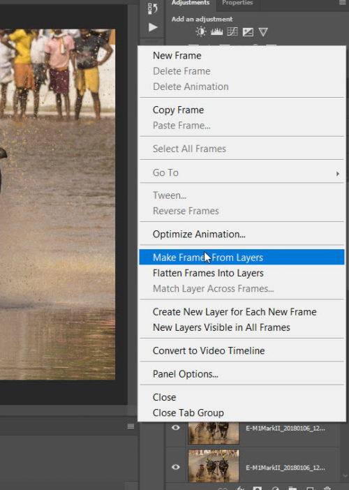 Choose Make frames from layers menu