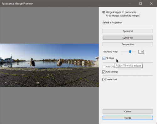 Fill Edges for Panorama Merge