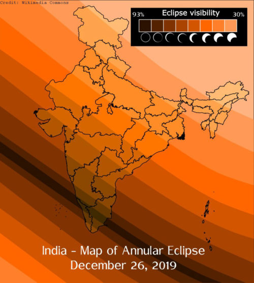 Map of annular eclipse over India