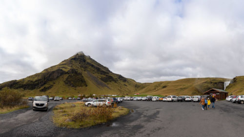Skógafoss Parking Lot Panorama