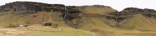 Road side waterfall on Southern ring road Panorama