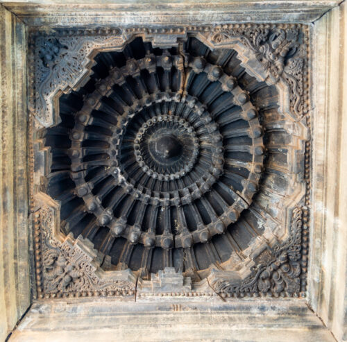 Finely carved ceiling of Belavadi Temple