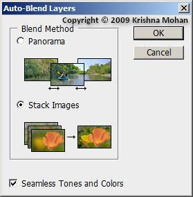 Auto-Blend Layers Dialog Box