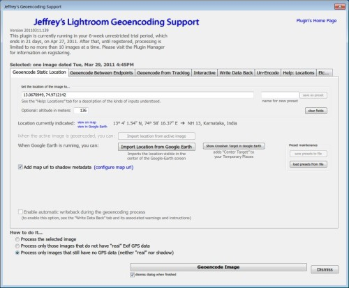 Jeffrey's Lightroom Geoencoding Plugin