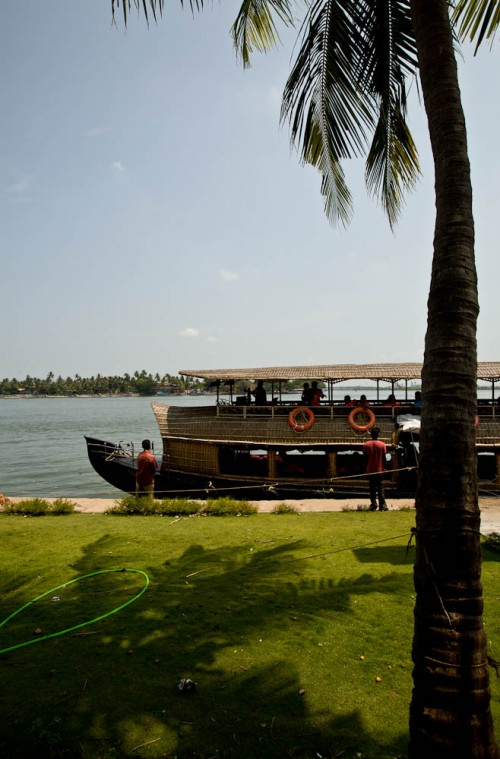 Houseboat on shores of Vembanad lake