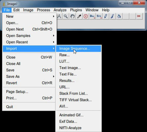 ImageJ to import files as Image sequence